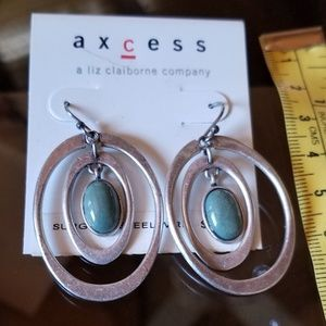 Liz Claiborne silver and faux turquoise earrings
